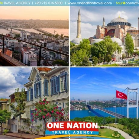Tours includes the Blue Mosque, Hippodromme, Hagia Sophia, Topkapi Palace, Grand Bazaar, Bosphorus Cruise,